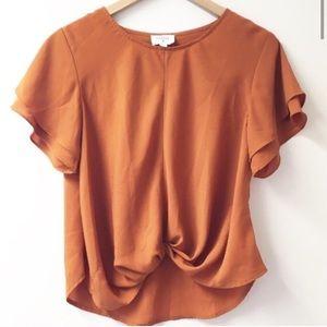 Everly Burnt Orange knotted top flutter sleeve M
